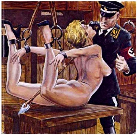 Typically lurid Jewish cartoon with a female prisoner and a Gestapo officer